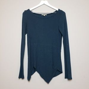 Bordeaux Peacock Blue Assymetrical Hem Shirt